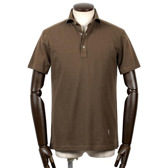 ギローバー GUY ROVER / 20SS!コットン鹿の子ホリゾンタルワイドカラー半袖ポロシャツ「PC207J」(シガーブラウン)/ メンズ イタリア ビジネス クールビズ ドレスポロ 台襟ポロ ビズポロ カノコ