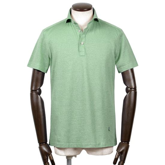 ギローバー GUY ROVER / 20SS!コットン鹿の子ホリゾンタルワイドカラー半袖ポロシャツ「PC207J」(ライトグリーン)/ メンズ イタリア ビジネス クールビズ ドレスポロ 台襟ポロ ビズポロ カノコ