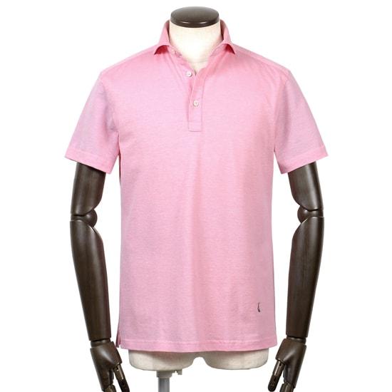ギローバー GUY ROVER / 20SS!コットン鹿の子ホリゾンタルワイドカラー半袖ポロシャツ「PC207J」(ピンク)/ メンズ イタリア ビジネス クールビズ ドレスポロ 台襟ポロ ビズポロ カノコ