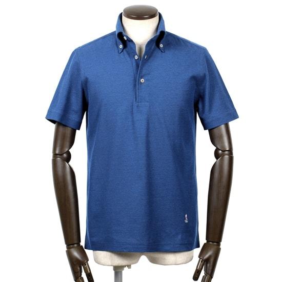 ギローバー GUY ROVER / 20SS!コットン鬼鹿の子ボタンダウンカラー半袖ポロシャツ「PC224J」(ロイヤルブルー)/ メンズ イタリア ビジネス クールビズ ドレスポロ 台襟ポロ ビズポロ カノコ