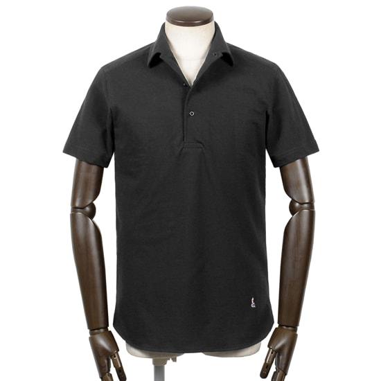 ギローバー GUY ROVER / 20SS!コットン鹿の子イタリアンカラー半袖ポロシャツ「PC159」(ブラック)/ メンズ イタリア ビジネス クールビズ ドレスポロ 台襟ポロ ビズポロ カノコ