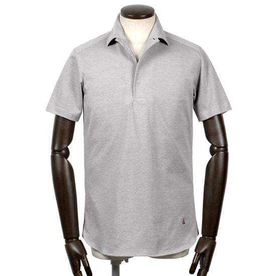 ギローバー GUY ROVER / 20SS!コットン鹿の子イタリアンカラー半袖ポロシャツ「PC159」(ライトグレー)/ メンズ イタリア ビジネス クールビズ ドレスポロ 台襟ポロ ビズポロ カノコ