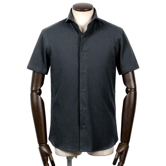 ギローバー GUY ROVER / 20SS!コットン鹿の子ホリゾンタルカラー半袖シャツ「PC190J」(ネイビー)/ メンズ イタリア ビジネス クールビズ 鹿の子シャツ ジャージーシャツ カノコ