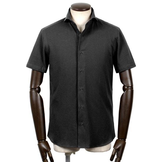 ギローバー GUY ROVER / 20SS!コットン鹿の子ホリゾンタルカラー半袖シャツ「PC190J」(ブラック)/ メンズ イタリア ビジネス クールビズ 鹿の子シャツ ジャージーシャツ カノコ
