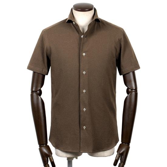 ギローバー GUY ROVER / 20SS!コットン鹿の子ホリゾンタルカラー半袖シャツ「PC190J」(シガーブラウン)/ メンズ イタリア ビジネス クールビズ 鹿の子シャツ ジャージーシャツ カノコ