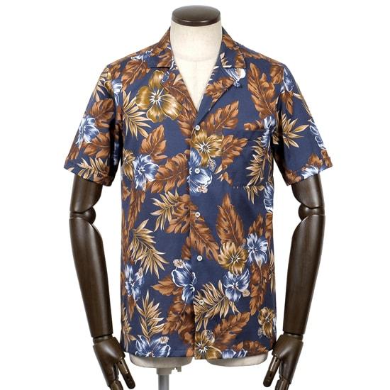 【最終SALE/返品・交換不可】ギローバー GUY ROVER / 20SS!コットン天竺オープンカラー半袖アロハシャツ「PC359」(ネイビー×ブラウン)/ メンズ イタリア 半袖シャツ 開襟シャツ ジャージーシャツ プリントシャツ