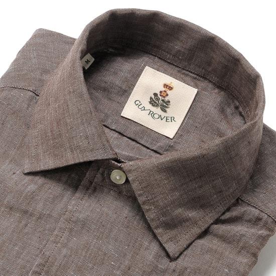 【最終SALE/返品・交換不可】ギローバー GUY ROVER / 20SS!製品洗いリネンポプリンイタリアンカラーシャツ「GR193LJ」(ブラウン)/ メンズ イタリア クールビズ 麻シャツ リネンシャツ 無地