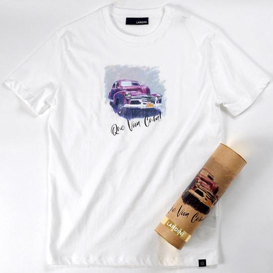 【最終SALE/返品・交換不可】ラルディーニ LARDINI / 【国内正規品】 / 20SS!コットン天竺キューバプリント半袖クルーネックカットソー「Que Viva Cuba」(ホワイト/クラシックカー)/ 春夏 イタリア メンズ Tシャツ ティーシャツ プリントTシャツ