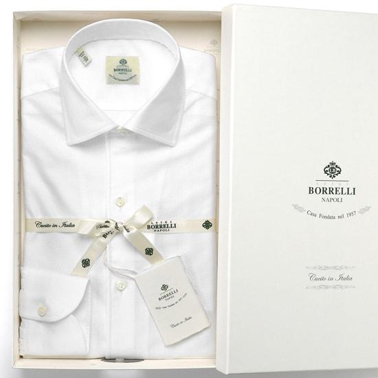 ルイジボレッリ ルイジボレリ LUIGI BORRELLI / 20SS!コットンカラミ織り無地イタリアンカラーシャツ「NISIDA(9051)」(ホワイト)/ あす楽非対応 メンズ イタリア 手縫い ビジネス ワイシャツ 無地 イタリアンカラー