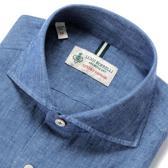 ルイジボレッリ ルイジボレリ LUIGI BORRELLI / 20SS!製品洗いリネンポプリン無地ホリゾンタルカラーシャツ「NA35(9129)」(インディゴブルー)/ あす楽非対応 イタリア カジュアルシャツ メンズ 麻 無地