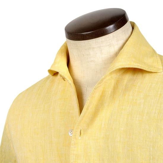 ルイジボレッリ ルイジボレリ LUIGI BORRELLI / 20SS!製品洗いリネンポプリン無地イタリアンカラーシャツ「VESUVIO(9130)」(イエロー)/ あす楽非対応 イタリア ワンピースカラー カジュアルシャツ メンズ 麻 無地