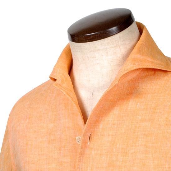 【ポイント10倍】ルイジボレッリ ルイジボレリ LUIGI BORRELLI / 20SS!製品洗いリネンポプリン無地イタリアンカラーシャツ「VESUVIO(9130)」(オレンジ)/ 非対応 イタリア ワンピースカラー カジュアルシャツ メンズ 麻 無地