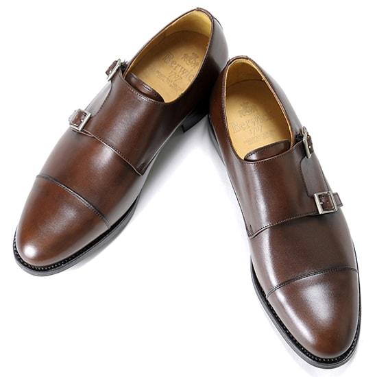 バーウィック Berwick1707 / アニリンカーフダブルモンクストラップシューズ『3637』(598/ ブラウン )/ 靴 シューズ ダブルモンク 茶 ダブルモンク ダイナイトソール ストレートチップ 革靴 ビジネス カジュアル レザーシューズ