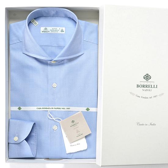 【返品・交換不可】ルイジボレッリ ルイジボレリ LUIGI BORRELLI / 【通年定番品】 コットンピンポイントオックスフォードホリゾンタルカラーシャツ『NA35』(サックスブルー) シャツ ドレスシャツ イタリア あす楽非対応 ビジネス メンズ ブランド | ホリゾンタル