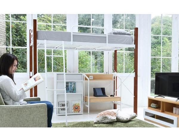 天然木脚 ロフトベッド シングル パイプベッド ロフト 高さ 183 長さ 209 木製式ベッド 天然木 頑丈 丈夫 有効活用 新生活 インテリア 極太