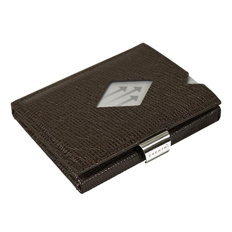 EXENTRI WALLET (エキセントリ ウォレット)モザイクブラウン 本革 三つ折り財布 コンパクト EX-D 332