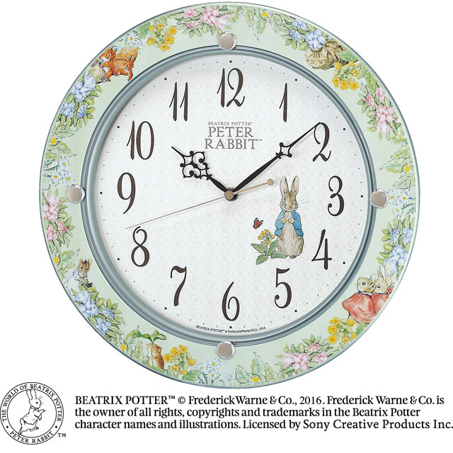 セイコークロック☆ピーターラビット電波掛け時計☆ビアトリクス・ポター生誕150周年☆正規品☆CL614M