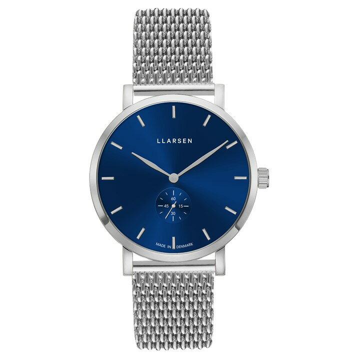 【あす楽】エルラーセン【LLARSEN】Made in Denmark デンマーク製 NIKOLAJ ニコライ メンズ腕時計 ステンレスケース ブルー文字盤 ステンレスメッシュバンド 41ミリ 3気圧防水 日本国内正規品 3年保証 LL143SDSM