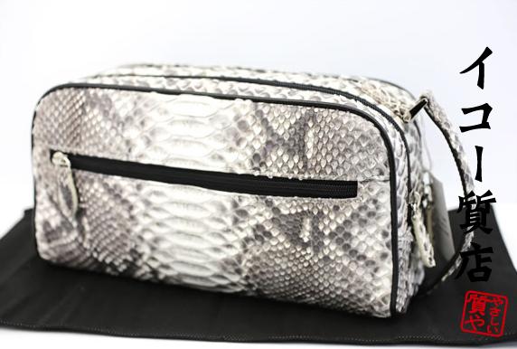 極上 パイソン Wファスナー セカンドバッグ 紳士用 未使用品 贈り物最適 【中古】3465