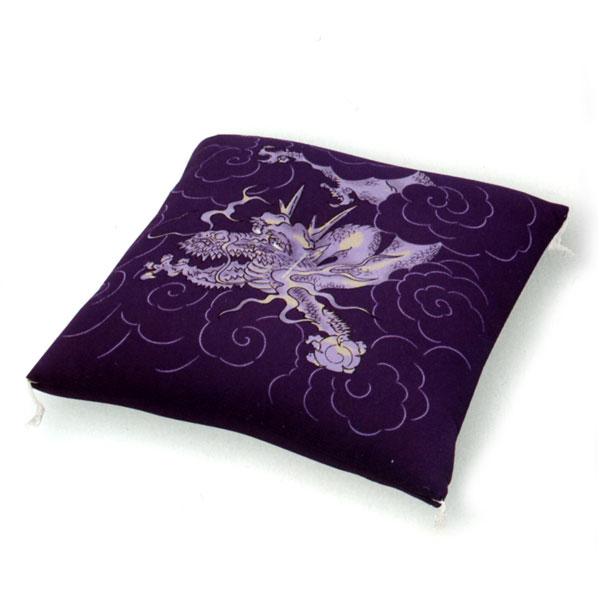 ちりめん 座布団 [龍]直綿入り 65x69cm (紫)