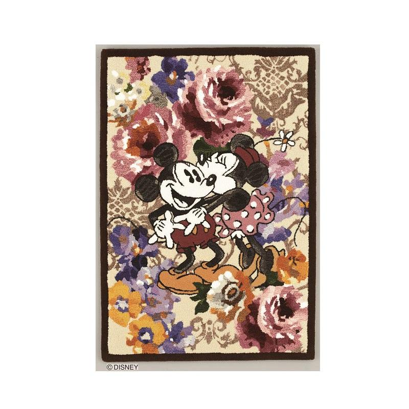 ディズニーホームシリーズ ミッキー デコレートフラワータペストリー 丹後緞通 約85×120cm ディズニー タペストリー MICKEY スミノエ