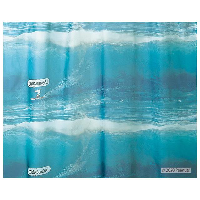 ピーナッツ カーテン シアー カワバンガ!ボイル 約100×176cmの2枚組(1窓分) ブルー スミノエ PEANUTS