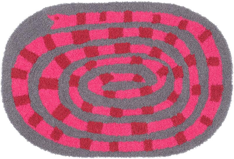 スミノエ ラグマット/玄関マット Masaru Suzukiデザイン/キャンディーヘビ CANDYHEBI/約60×90cm ピンク 日本製/アクセントマット/ポップ/かわいい/子供部屋/