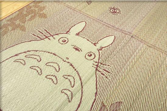 純国産い草ラグ『森のトトロ』(裏:ウレタン) となりのトトロ 約176×176cm/日本製/ラグマット/カーペット/センターラグ/夏/グローリング/井草/いぐさ/和柄/