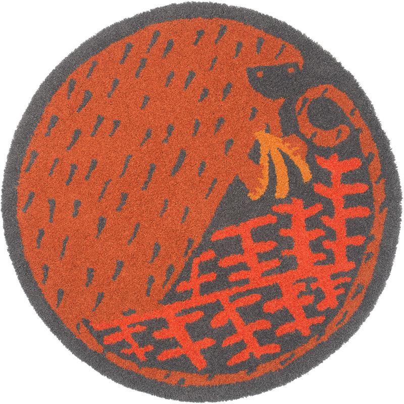 スミノエ ラグマット Masaru Suzukiデザイン/バナナマニア BANANAMANIA/約90×90cm ブラウン 日本製/玄関マット/アクセントマット/ポップ/かわいい/子供部屋/
