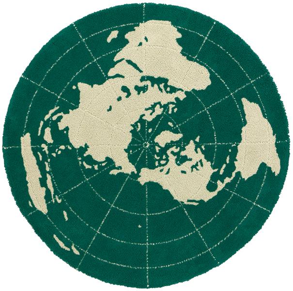東リ ラグマット TOR3619 サイズ:148x148cm(グリーン、アイボリー/地球柄)