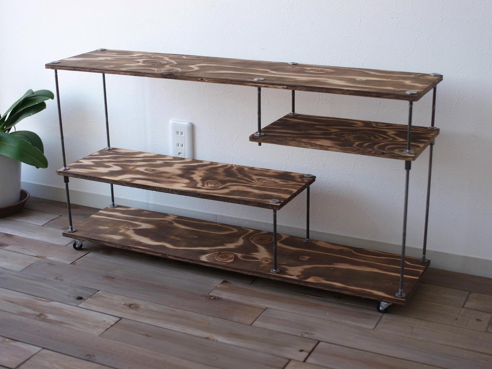 creemaテレビCM掲載商品wood iron shelf 500*910*225(ローボード テレビ台 アイアン 棚 ラック シェルフ 鉄 木 収納棚 アンティーク ビンテージ シャビー インダストリアル テレビボード)