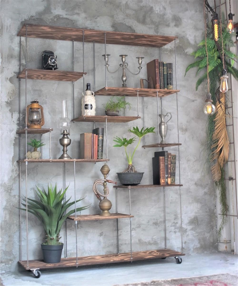 wood iron shelf 1740*1200*225 (アイアン 棚 ラック シェルフ 鉄 木 収納棚 アンティーク ウォールシェルフ オープンラック 両面棚 商品棚 デイスプレイ)