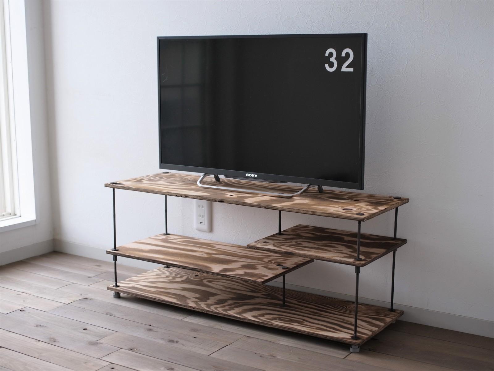 【テレビCM掲載】wood iron shelf 375*910*300(テレビ台 ローボード アイアン 棚 テレビボード ラック シェルフ TVボード 鉄 木 収納棚 ビンテージ シャビー インダストリアル)