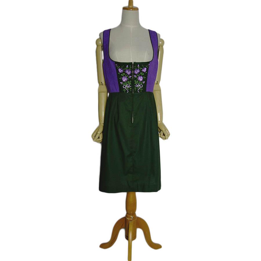 【中古】 花の刺繍 ディアンドル チロル ワンピース ノースリーブ レディースL位 民族衣装 古着 【異国屋】