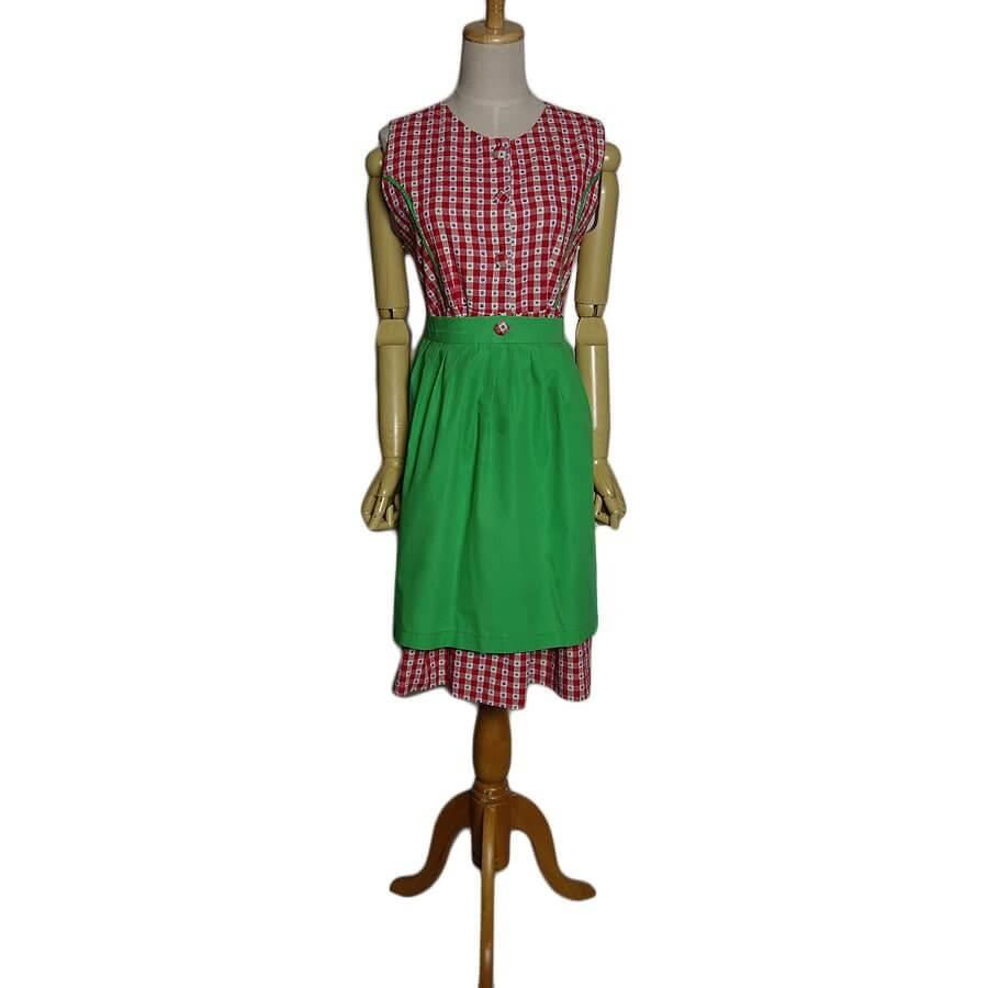 【中古】エプロン付き ディアンドル チロル ワンピース ヨーロッパ 古着 Lサイズ位 民族衣装