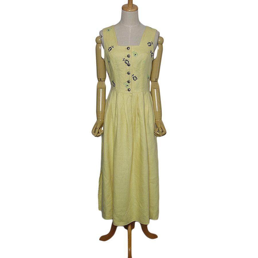 【中古】BERWIN & WOLFF リネン チロル ワンピース レディースM位 ヨーロッパ古着 民族衣装 ディアンドル