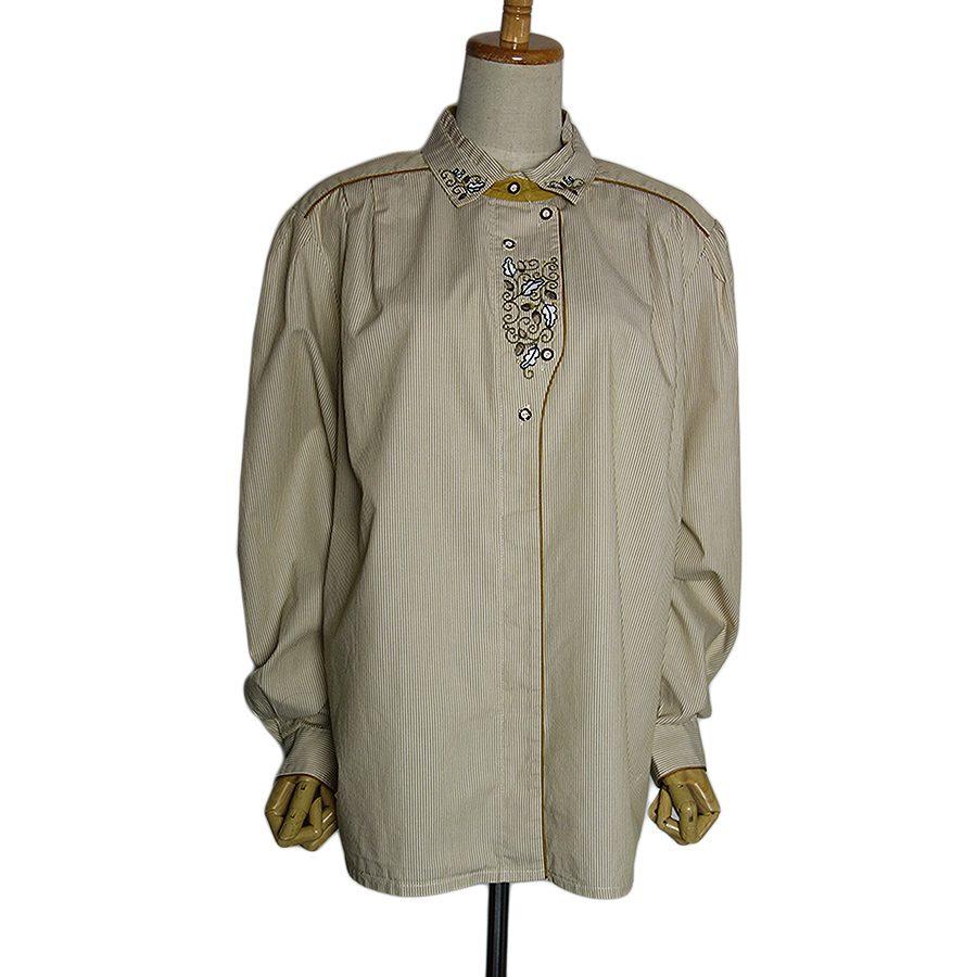 【中古】perry 刺繍入り ストライプ柄 チロルブラウス 長袖 民族衣装 ヨーロッパ古着 レディース