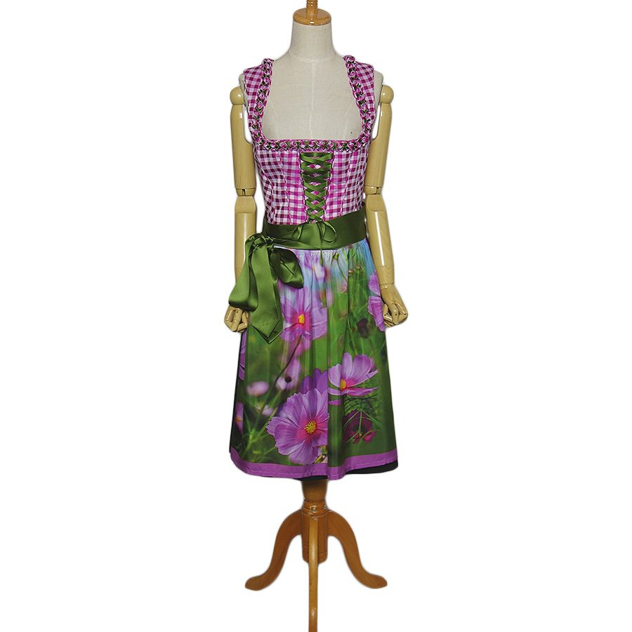 【中古】Distler 花柄のエプロン付き チロル ワンピース レディースL位 チェック柄 ヨーロッパ古着 民族衣装 ディアンドル