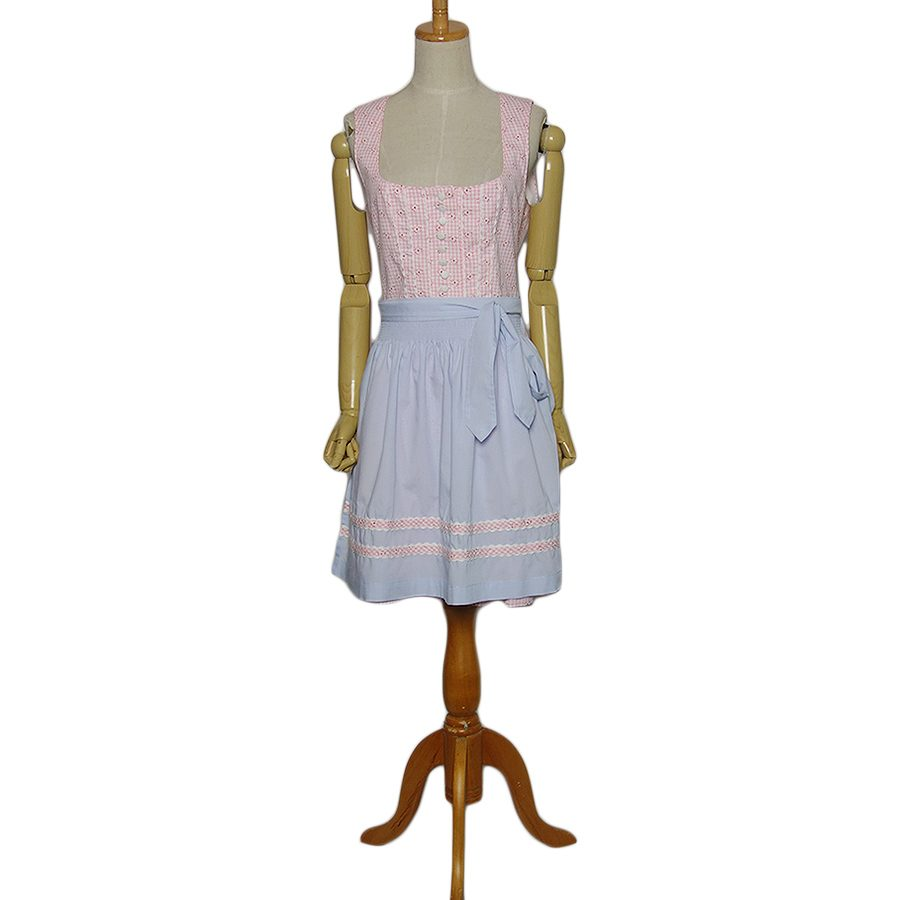 【中古】Distler エプロン付き チロル ワンピース ドレス レディースXL位 ヨーロッパ古着 民族衣装 ディアンドル チェック柄に小花