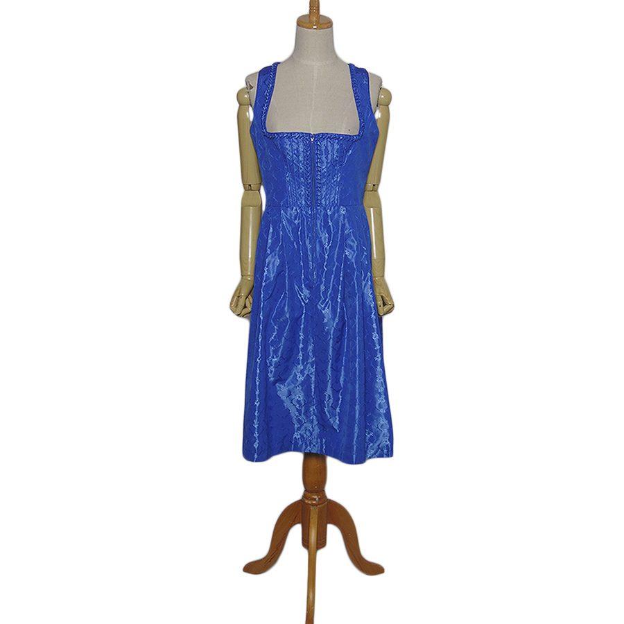 【中古】WENGER チロル ワンピース ドレス 青 レディースL位 ヨーロッパ古着 民族衣装 ディアンドル