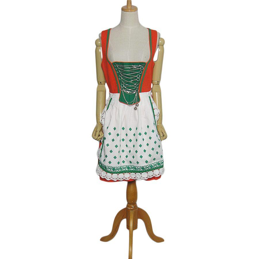 【中古】TIROLER Dirndl エプロン付き ディアンドル チロル ワンピース レディースL位 裾に刺繍入り ヨーロッパ古着 民族衣装