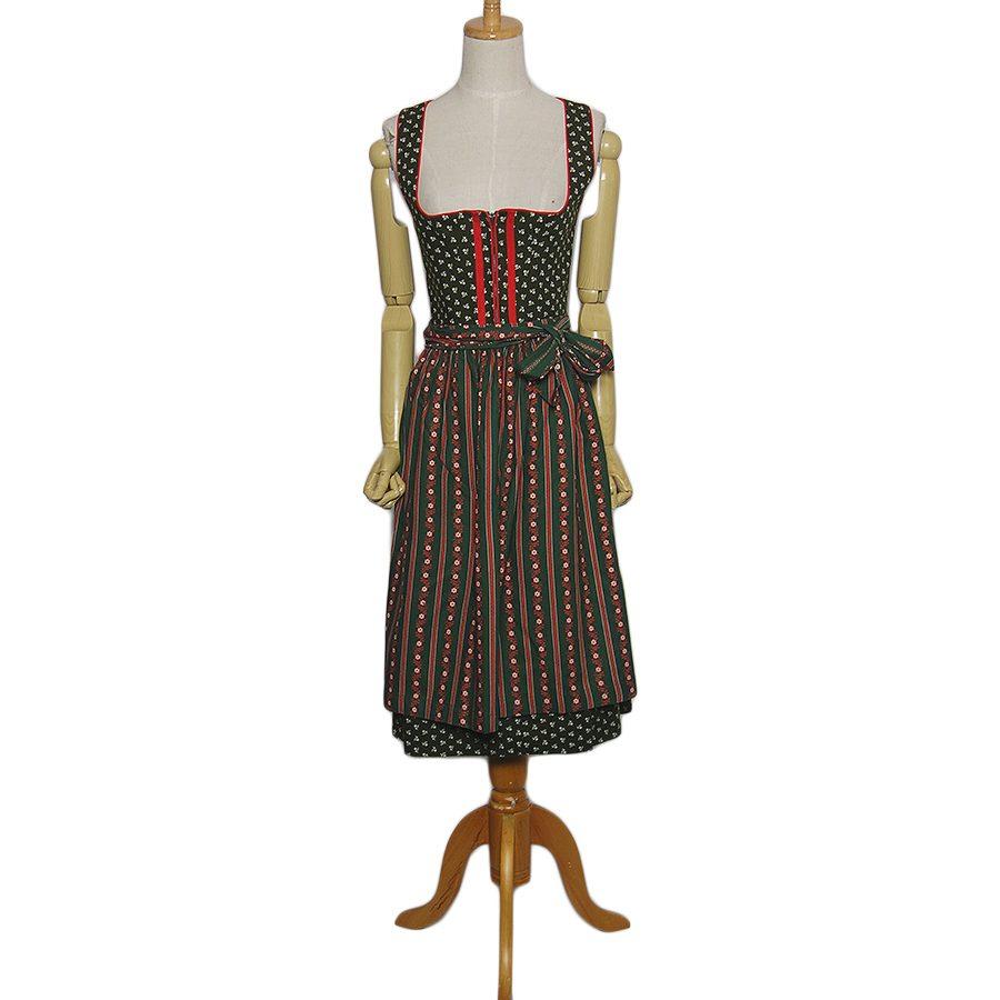 【中古】STRASSER エプロン付き 小花柄 ディアンドル ドレス チロル ワンピース レディースS位 ヨーロッパ古着 民族衣装