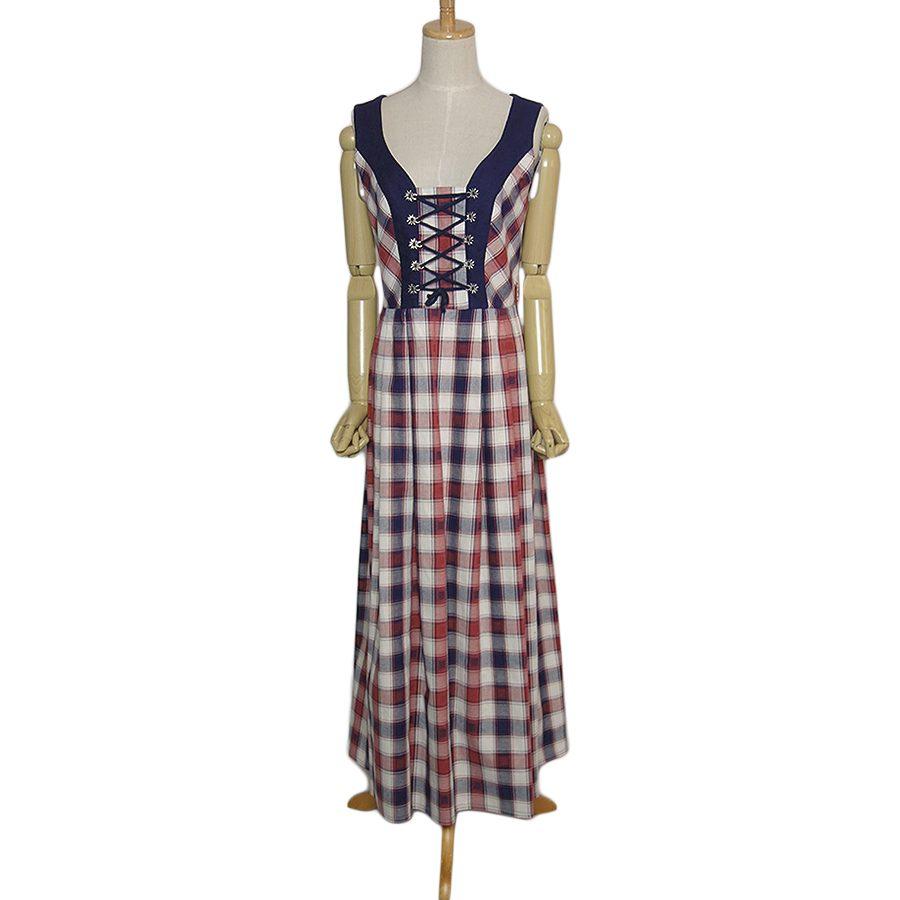 【中古】Country Lady ディアンドル チロル ワンピース ドレス レディース Lサイズ位 チェック柄 ヨーロッパ 民族衣装 古着 ノースリーブ カントリー