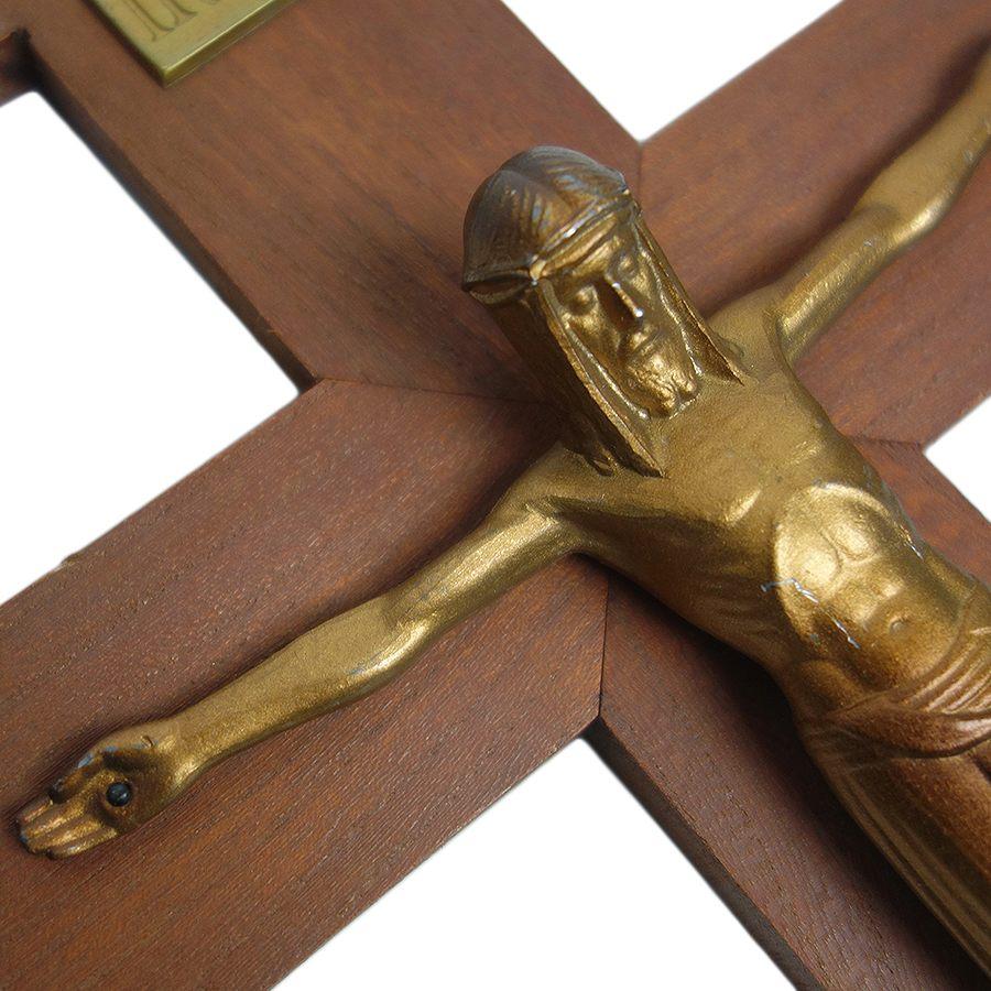 【中古】アンティーク キリスト 十字架 壁掛け INRI クロス キリシタン 信仰 フランス購入 ヴィンテージ 磔 インテリア雑貨 【異国屋】