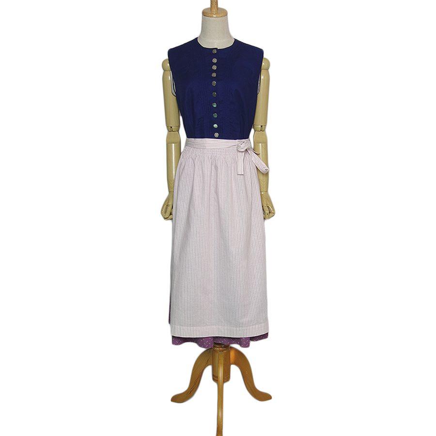 【中古】Alphorn エプロン付き ディアンドル チロル ワンピース ドレス レディース XLサイズ位 ドイツ 民族衣装 古着 ノースリーブ オクトーバーフェスト