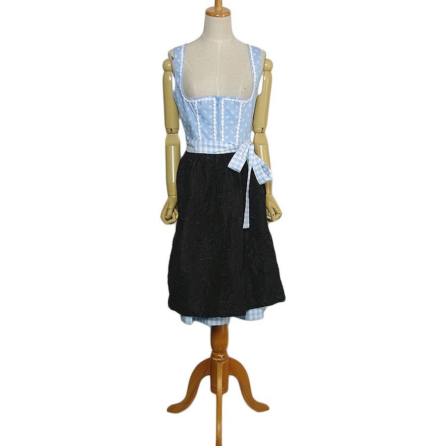 【中古】WENGER エプロン付き ディアンドル チロル ワンピース ドレス レディース Mサイズ位 ヨーロッパ古着 民族衣装 コットン 上は花柄 裾チェック柄