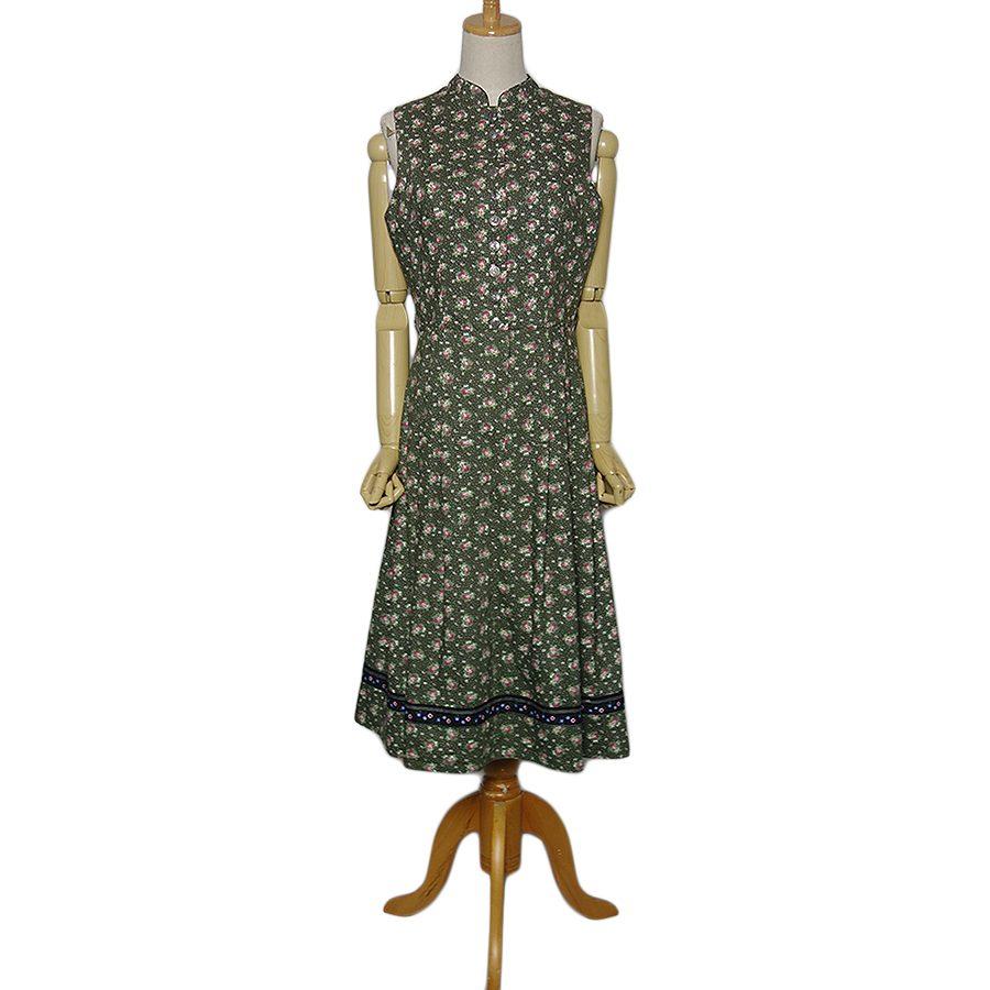 【中古】花柄 ディアンドル チロル ワンピース ドレス レディース Mサイズ位 ヨーロッパ 古着 民族衣装 コットン ノースリーブ
