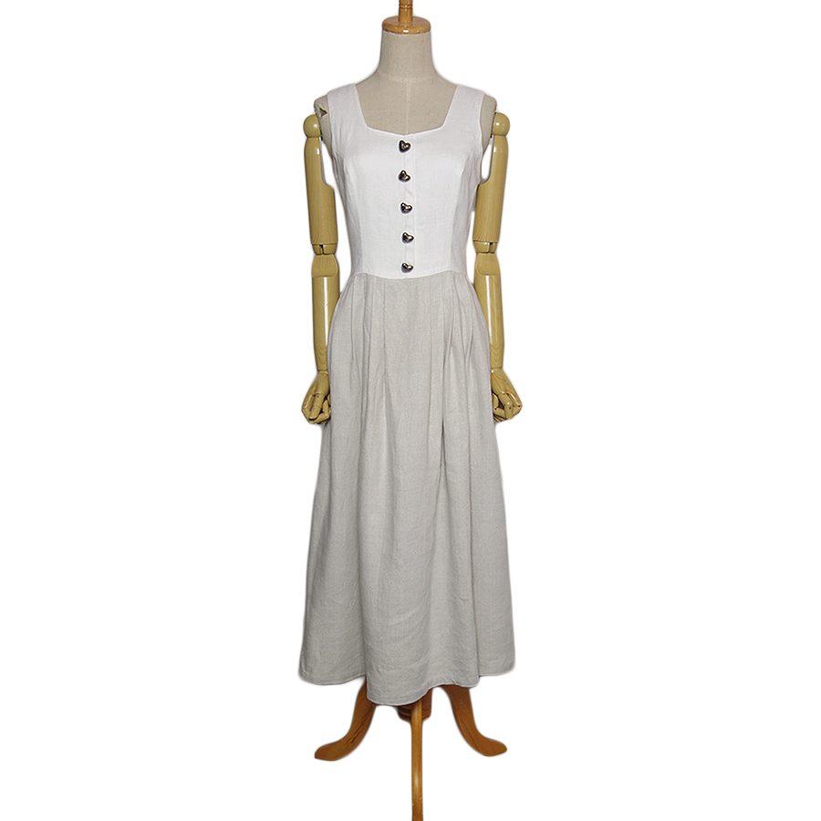【中古】リネン ディアンドル チロル ワンピース レディース Sサイズ位 ヨーロッパ 古着 民族衣装 カントリー ノースリーブ ドレス