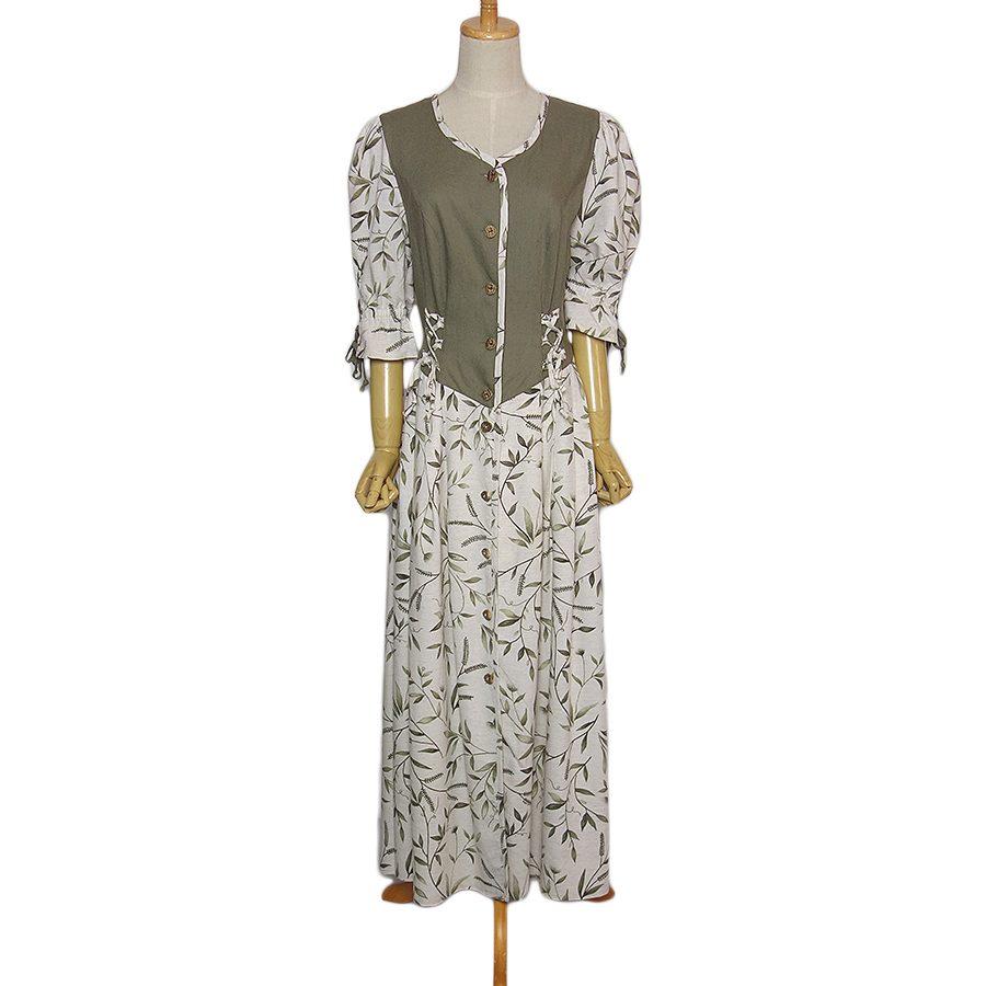 【中古】前開き カントリー チロル ワンピース 植物 葉柄 レディース Lサイズ位 ヨーロッパ 古着 ドレス