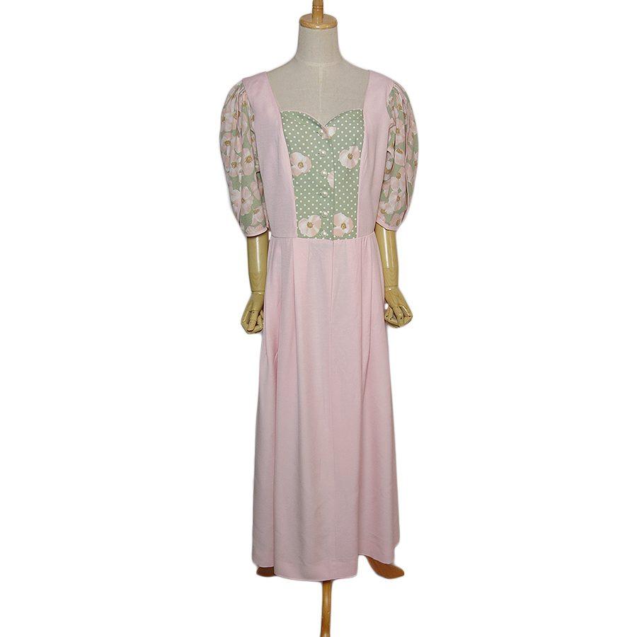 【中古】オーストリア ISOLA カントリー チロル ワンピース ピンク系 5分袖位 レディース XLサイズ位 古着 民族衣装 ドレス